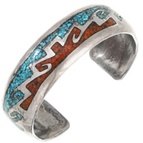 Vintage Turquoise Coral Sterling Silver Cuff Bracelet 40464