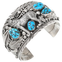 Vintage Navajo Turquoise Silver Wolf Bracelet 40467