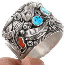 Sleeping Beauty Turquoise Navajo Cuff Bracelet 40466