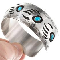 Arizona Turquoise Sterling Silver Bear Paw Bracelet 40472