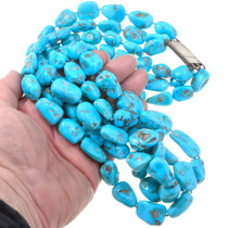 Vintage Sleeping Beauty Beads Natural Turquoise Necklace 40481