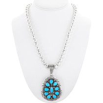 Sterling Silver Natural Turquoise Pendant 40482