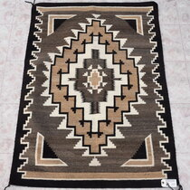 Vintage Navajo Two Grey Hills Wool Rug 40487