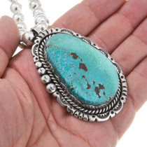 Arizona Turquoise Sterling Silver Navajo Pendant 40495