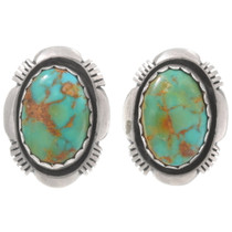 Vintage Old Pawn Green Turquoise Earrings 40500