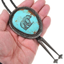 Number 8 Turquoise Hand Etched Bear Old Pawn Bolo Tie 40411