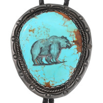 Old Pawn Navajo Turquoise Bear Bolo Tie 40411