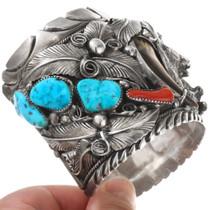 Vintage Sleeping Beauty Turquoise Silver Bear Cuff Bracelet 40504