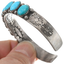 Vintage Sterling Silver Natural Arizona Turquoise Cuff Bracelet 40511