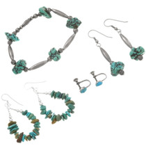 Old Pawn Sterling Silver Turquoise Nugget Jewelry Set 40512