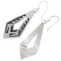 Authentic Hopi Loren Qumawunu Silver Earrings Artist Signed 40513