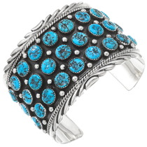 Natural Kingman Turquoise Navajo Cuff Bracelet 40514