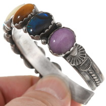 Sterling Silver Navajo Colorful Gemstone Bracelet 40515