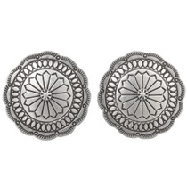 Old Pawn Sterling Silver Concho Earrings 40525
