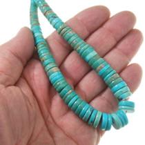 Native American Beaded Heishi Turquoise Necklace 40527