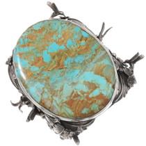 Huge Vintage Sterling Silver Cuff San Felipe Turquoise Bracelet 40065