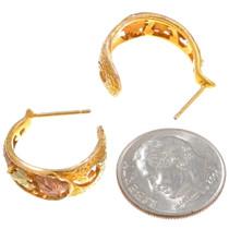 10K Gold Hoop Earrings Floral Leaf Design 40546