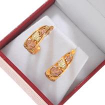 Vintage Black Hills Rose Yellow Gold Earrings 40546