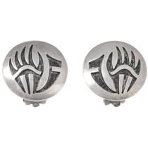 Sterling Silver Hopi Bear Paw Earrings 40547