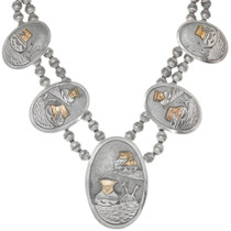 Navajo Storyteller Silver Gold Necklace Earrings Set 40549