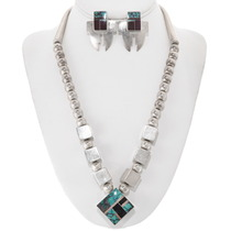 Matching Navajo Sterling Silver Turquoise Necklace Earrings Set 40550