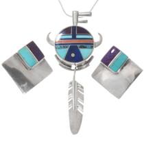 Buffalo Kachina Turquoise Pendant Earrings Set 40552