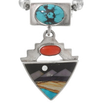Turquoise Inlay Silver Pendant Bead Necklace 40553