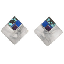 Vintage Turquoise Lapis Sterling Silver Earrings 40555