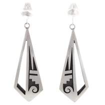 Hopi Sterling Silver Old Pawn Earrings 40564