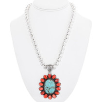 Sterling Silver Native American Turquoise Pendant 40586