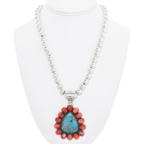 Spiny Oyster Sterling Silver Turquoise Pendant 40591