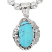 Genuine Turquoise Silver Navajo Pendant 40592