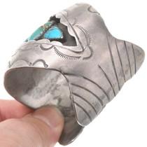 Wide Sterling Silver Cuff Kingman Turquoise Nugget Bracelet 40602