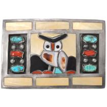 Vintage Zuni Owl Belt Buckle 40606