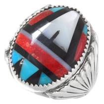 Native American Inlay Mens Silver Ring 40609