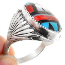 Turquoise Coral Geometric Navajo Pattern Inlay Ring 40609