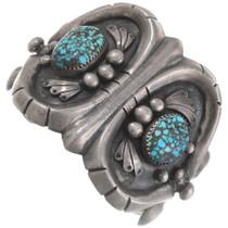 Heavy Gauge Sterling Silver Spiderweb Turquoise Bracelet 40610