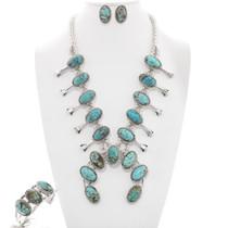 Navajo Turquoise Squash Blossom Jewelry Set 23321