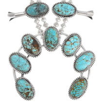 High Grade Spiderweb Turquoise Squash Blossom Necklace 23321
