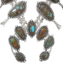Authentic Bisbee Turquoise Native American Squash Blossom Necklace 23321