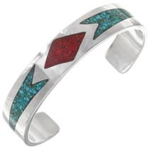 Navajo Turquoise Coral Sterling Silver Bracelet 40616