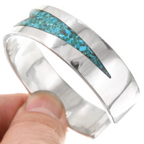 Chip Inlay Navajo Geometric Design Turquoise Bracelet 40616