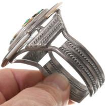 Turquoise Shell Inlay Longhair Kachina Zuni Bracelet 40618