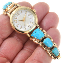 Sleeping Beauty Turquoise Gold Watch 40623