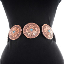 Copper Traditional Pattern Navajo Concho Belt 30426