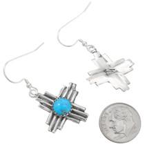 Native American Turquoise Zia Symbol Earrings 40645