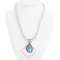 Turquoise Sterling Silver Navajo Pendant 40649