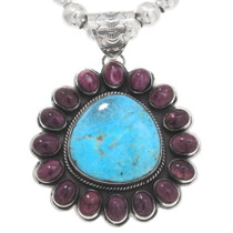 Turquoise Spiny Oyster Navajo Pendant 40652