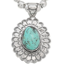 Navajo Turquoise Scalloped Silver Pendant 40654