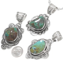 High Grade Turquoise Gemstone Pendants on Silver Bead Necklace 40655